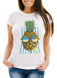 Damen T-Shirt chilling Ananas Pinapple Sommer Beach Cocktail Neverless®