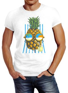 Herren T-Shirt chilling Ananas Pinapple Sommer Beach Cocktail Neverless®