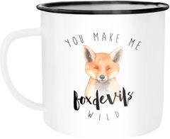Emaille Tasse Becher You  make me foxdevilswild Denglisch Spruch Liebe verliebt Kaffeetasse Moonworks®