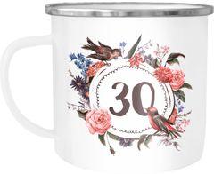 Emailletasse Becher Kaffeetasse mit Jahreszahl {style_variation} {{style_variation}_ausgeschrieben} Blumen Bordüre Moonworks®