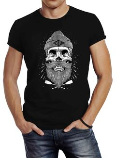Herren T-Shirt Captain Skull Beard Totenkopf Bart Kapitän Slim Fit Neverless®