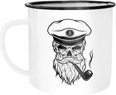 Emaille Tasse Becher Totenkopf Captain Skull Kapitän Anker Kaffeetasse Moonworks®
