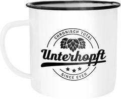 Emaille Tasse Becher Bier Spruch Chronisch Total Unterhopft Kaffeetasse Campingtasse Festival Moonworks®
