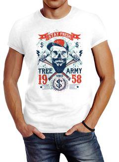 Herren T-Shirt Hipster modern Lumberjack Stay fresh Skull Totenkopf Neverless®