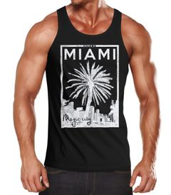 Herren Tank Top Miami Beach Palmen Skyline Neverless®