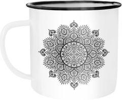 Emaille Tasse Becher Mandala Ethno Boho Kaffeetasse Campingbecher Autiga®
