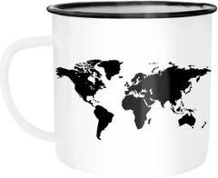 Emaille Tasse Becher Weltkarte World Map Kaffeetasse Autiga®
