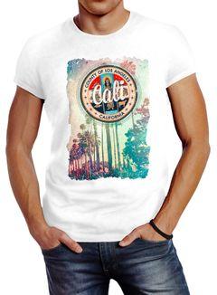 Herren T-Shirt California Beach Sunset Palmen Retro Slim Fit Neverless®