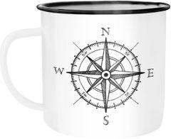 Emaille Tasse Becher Kompass Windrose Abenteurer Campingbecher Kaffeetasse Moonworks®