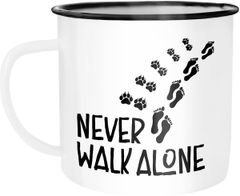 Emaille Tasse Becher Never walk alone Hund Hundebesitzer Dog Kaffeetasse Moonworks®