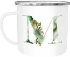 """Emaille Tasse Becher Buchstaben-Tasse """"M"""" Alphabet Monogram Zeichen Tasse mit Buchstabe Autiga®"""