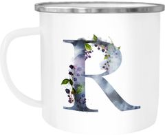 """Emaille Tasse Becher Buchstaben-Tasse """"R"""" Alphabet Monogram Zeichen Tasse mit Buchstabe Autiga®"""