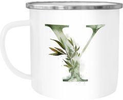 """Emaille Tasse Becher Buchstaben-Tasse """"Y"""" Alphabet Monogram Zeichen Tasse mit Buchstabe Autiga®"""