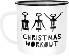 Emaille Tasse Becher Christmas Workout Flaschenöffner Korkenzieher Weihnachten lustig Weihnachtstasse Moonworks®