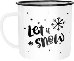 Emaille Tasse Becher Let it snow Weihnachten Schnee Schneeflocken Weihnachtstasse Autiga®
