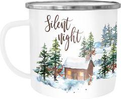 Emaille Tasse Becher Weihnachten Silent night Winter Schnee Christmas Weihnachtstasse Kaffeetasse Autiga®