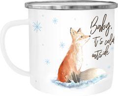 Emaille Tasse Becher Weihnachten Baby it`s cold outside Fuchs Weihnachtsbecher Weihnachtstasse Autiga®