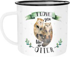 Emaille Tasse Becher Otter Pärchen I love you like no otter Liebe Kaffeetasse Moonworks®