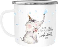 Emaille Tasse Becher Elefant Warum Trübsal blasen wenn man auch seifenblasen kann Spruch Glück Kaffeetasse Moonworks®
