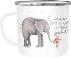 Emaille Tasse Becher Liebe muss nicht perfekt sein sondern echt Elefant Maus Liebe Geschenk Kaffeetasse Moonworks®