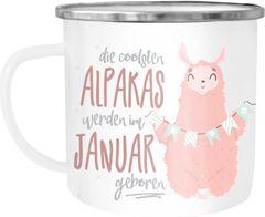 """Emaille Tasse Becher die coolsten Alpakas werden im """"Wunschmonat"""" geboren Geschenk-Tasse Geburtstagsgeschenk Moonworks®"""