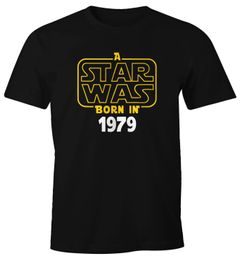 Herren T-Shirt A Star Was Born In 1979 40 Vierzig Geburtstag Geschenk Fun-Shirt Moonworks®