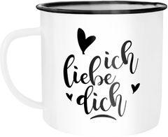 Emaille Tasse Becher Ich liebe Dich I love You Liebe Love Geschenk Frau Freundin Mann Freund Zuneigung Kaffeetasse Moonworks®
