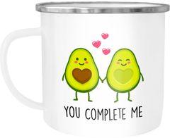 Emaille Tasse Becher Avocado Love - You complete me Kaffeetasse Geschenk Liebe Moonworks®
