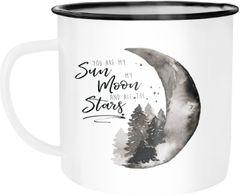 Emaille Tasse Becher You are my sun, my moon and all the stars Liebe Spruch Love Quote lustig verliebt Freund Freundin Kaffeetasse Moonworks®