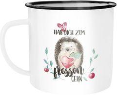 Emaille Tasse Becher Ich hab dich zum fressen gern Liebe Spruch Geschenk Kaffeetasse Moonworks®