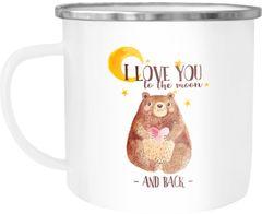 Emaille Tasse Becher Ich lieb dich bis zum Mond und wieder zurück Bär Herz Liebe Watercolor Kaffeetasse Moonworks®