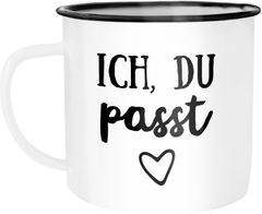 Emaille Tasse Becher Ich du passt Liebe Geschenk Freund Freundin Frau Mann Kaffeetasse Moonworks®