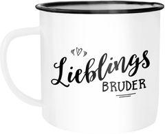 Emaille Tasse Becher Lieblingsbruder Geschenk Bruder Familie Geschwister Kaffeetasse Moonworks®