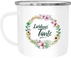 Emaille Tasse Becher Lieblingstante Geschenk für Tante Familie Kaffeetasse Moonworks®