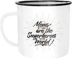 Emaille Tasse Becher Moms are the real Superheroes of the world Geschenk für Mutter Muttertag Kaffeetasse Moonworks®