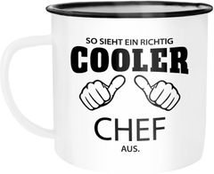Emaille Tasse Becher So sieht ein richtig ein richtig cooler {style_variation} aus Berufe Kaffeetasse Moonworks®