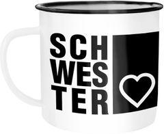 Emaille Tasse Becher Schwesterherz Geschenk für Schwester Kaffeetasse Moonworks®