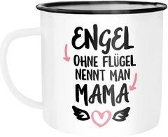 Emaille Tasse Becher Engel ohne Flügel nennt man Mama Geschenk Mama Weihnachten Muttertag Muttertagsgeschenk Kaffeetasse Moonworks®