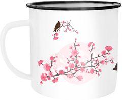 Emaille Tasse Becher Kirschblüten Vögel Vogel Blumen Blüten Flower Cherry Tree Birds Kaffeetasse Autiga®