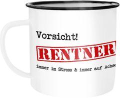 Emaille Tasse Becher Vorsicht Rentner Immer im Stress und immer auf Achse  Geschenk Rentner Ruhestand Kaffeetasse Moonworks®