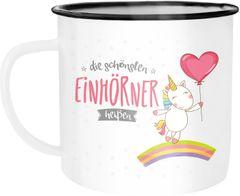 Emaille Tasse Becher die XXX Einhörner heißen Wunschname Personalisierbar Individuell Kaffeetasse Moonworks®