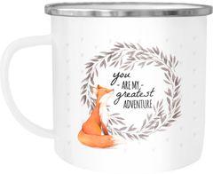 Emaille Tasse Becher You are my greates adventure Fuchs Fox Liebe Spruch Kaffeetasse Moonworks®