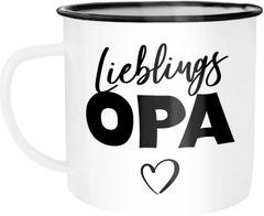 Emaille Tasse Becher Lieblingsopa Geschenk Opa Kaffeetasse Moonworks®