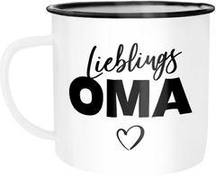 Emaille Tasse Becher Lieblingsoma Geschenk Oma Kaffeetasse Moonworks®