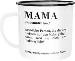 Emaille Tasse Becher Mama Definiation Wörterbuch Dictionary Duden Geschenk Muttertag Weihnachten Kaffeetasse Moonworks®