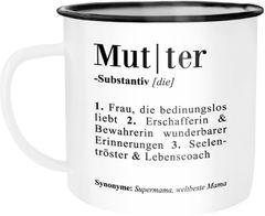 Emaille Tasse Becher Mama Definiation Wörterbuch Dictionary Duden Kaffeetasse Moonworks®