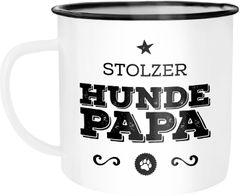 Emaille Tasse Becher Stolzer Hundepapa Papa Besitzer Hundebesitzer Kaffeetasse Moonworks®