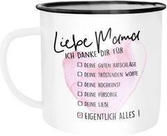 Emaille Tasse Becher Muttertag Mama ich danke dir für alles Geschenk-Tasse Muttertags-Geschenk Weihnachten Moonworks®
