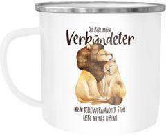 Emaille Tasse Becher Du bist mein Verbündeter Löwe Löwen Pärchen Liebe Spruch Geschenk Kaffee-Tasse Liebessprüche Moonworks®