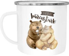 Emaille Tasse Becher Du bist bärenstark Bären Geschenk Liebe Freund Freundin Tasse Liebessprüche Kaffeetasse Moonworks®